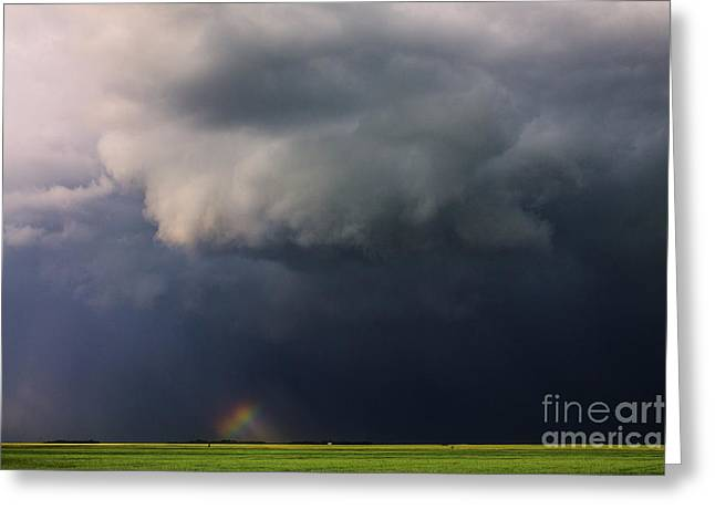 Severe Weather Greeting Cards - Wall Cloud and Rainbow Greeting Card by Francis Lavigne-Theriault