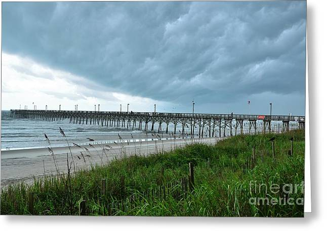 Surf City Greeting Cards - Wall Cloud Over Surf City Pier Greeting Card by Bob Sample