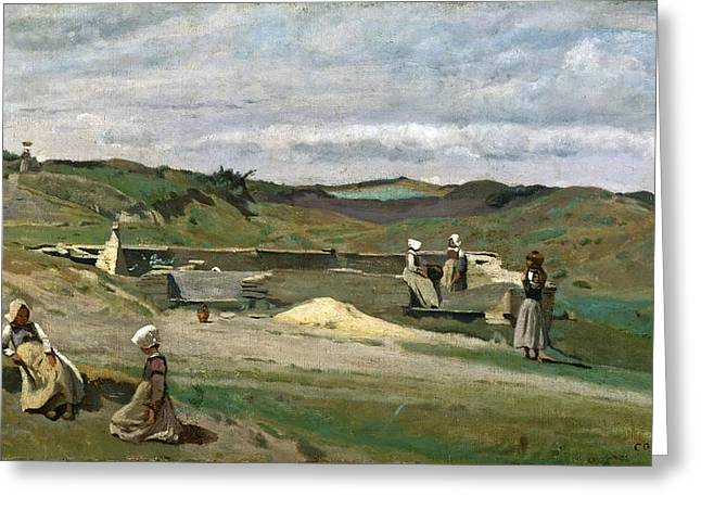 Nord Greeting Cards - Wall. Cotes-du-Nord Brittany Greeting Card by Jean-Baptiste-Camille Corot
