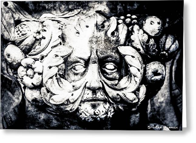 Faa Featured Mixed Media Greeting Cards - Wall face portrait Greeting Card by Stwayne Keubrick