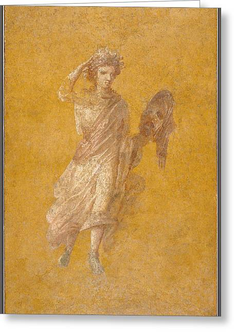 Theater Masks Greeting Cards - Wall Fragment Of A Muse, 1-75 Ad Plaster And Pigment Greeting Card by Roman