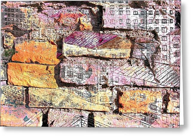 Old Wall Pyrography Greeting Cards - WALL in city Greeting Card by Yury Bashkin