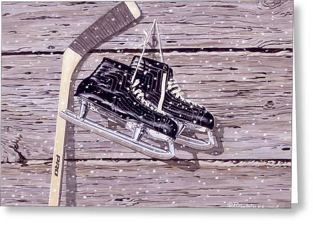 Hockey Paintings Greeting Cards - Wall of Fame Greeting Card by Richard De Wolfe