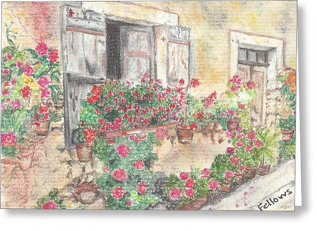 Flower Boxes Pastels Greeting Cards - Wall of Flowers Greeting Card by Florence Fellows