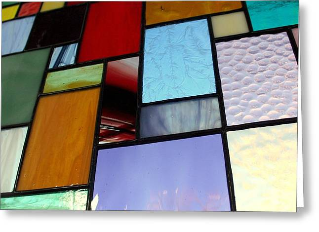 Panel Glass Art Greeting Cards - Wall of Glass Greeting Card by Marsha Painter