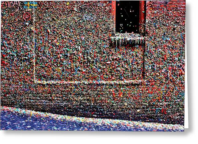Seattle Landmarks Greeting Cards - Wall of Gum Greeting Card by Benjamin Yeager