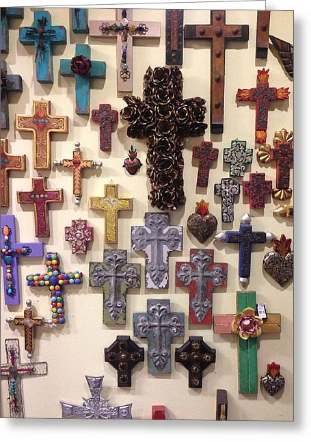Crucifixes Greeting Card by Julio Lopez