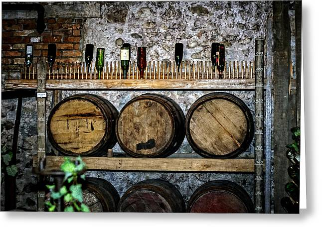 Sake Bottle Greeting Cards - Wall of Wine Greeting Card by Sennie Pierson