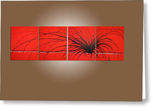 Prints Of Zebras Greeting Cards - Wall office decor triptych art Red Noise modern artwork painting Abstract Painting large art huge  Greeting Card by Stuart Wright
