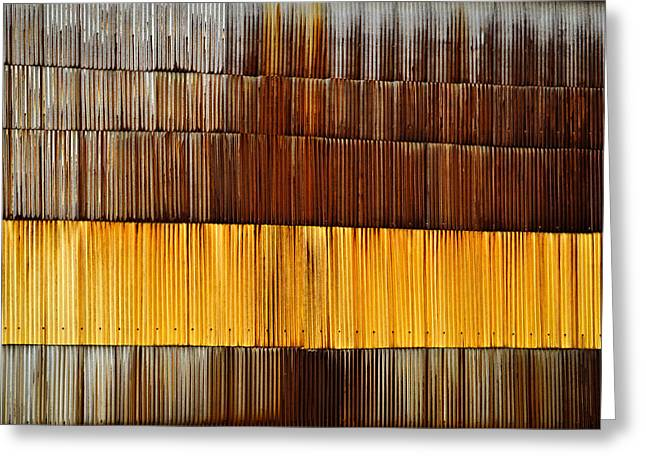 Wall Rusty Corrugated Metal Sheet Greeting Card by Jozef Jankola