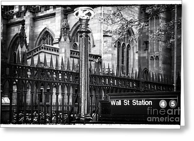 Wall St. Greeting Cards - Wall St Station Greeting Card by John Rizzuto