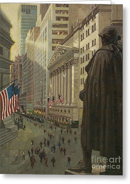 Famous Places Greeting Cards - Wall Street 1 Greeting Card by Gary Kim
