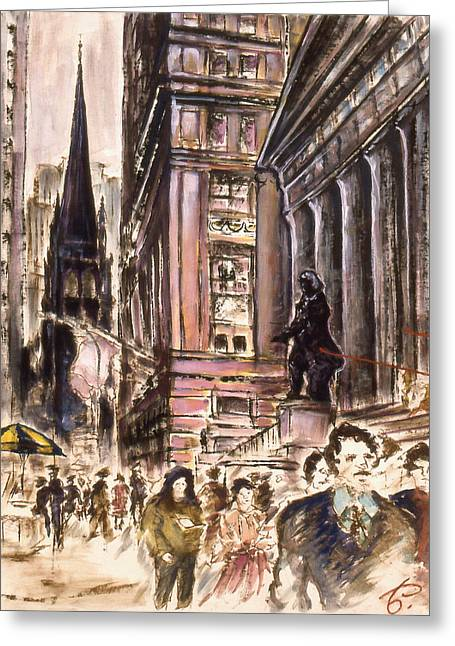 Urban Images Drawings Greeting Cards - Wall Street 80 - New York City Painting Greeting Card by Peter Fine Art Gallery  - Paintings Photos Digital Art