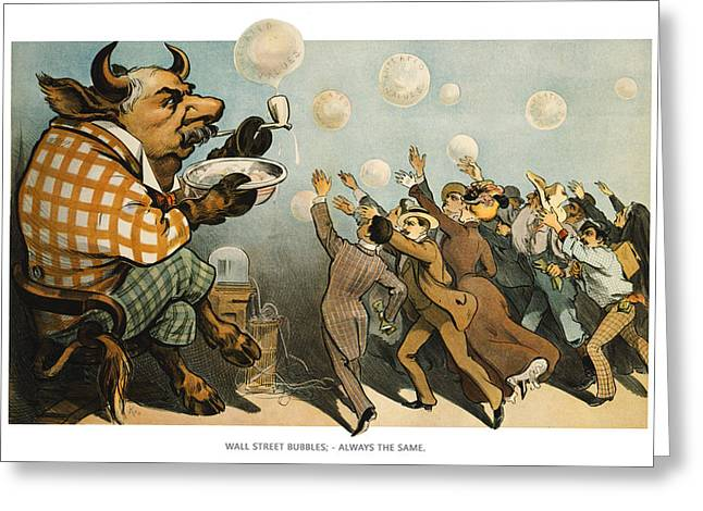 Wall Street Bubbles Always The Same Greeting Card by Aged Pixel