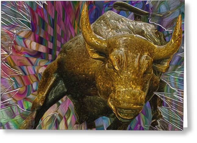Stainless Steel Digital Art Greeting Cards - Wall Street Bull 3 Greeting Card by Jack Zulli