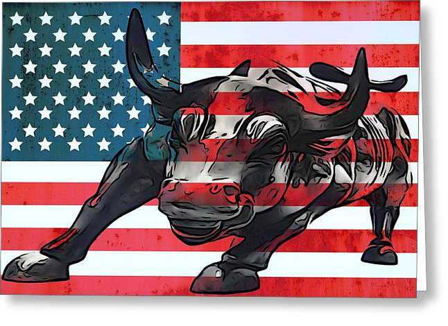 Flag Day Mixed Media Greeting Cards - Wall Street Bull American Flag Greeting Card by Dan Sproul
