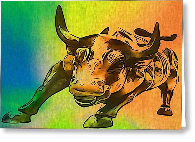 Wall Street Greeting Cards - Wall Street Bull Pop Art Greeting Card by Dan Sproul