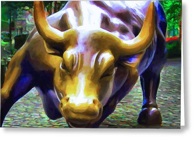 Wall Street Bull v2 - square Greeting Card by Wingsdomain Art and Photography