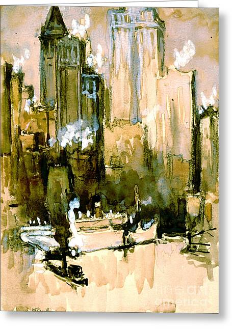 Padre Art Greeting Cards - Wall Street from Brooklyn 1921 Greeting Card by Padre Art