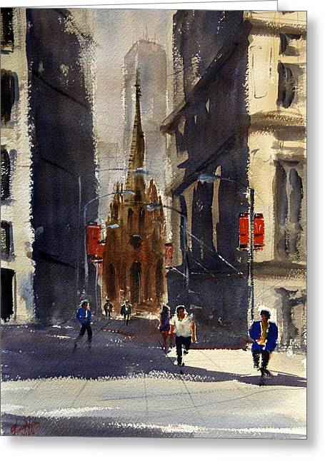 Spectacular Paintings Greeting Cards - Wall Street Guardians Greeting Card by James Nyika