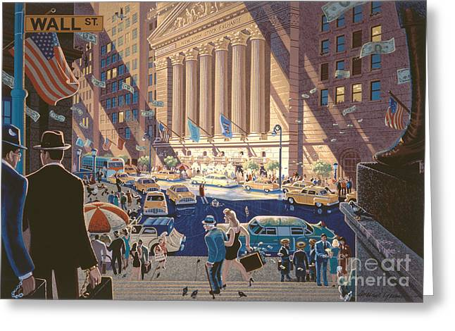 Wall City Prints Greeting Cards - Wall Street Greeting Card by Michael Young
