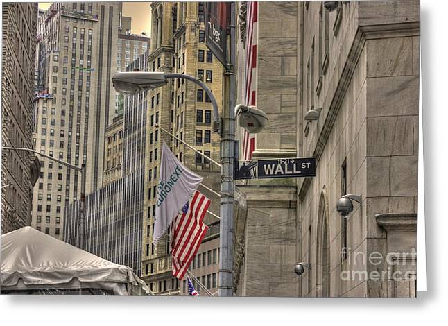 Wall Street Greeting Cards - Wall Street -- N Y S E Greeting Card by David Bearden
