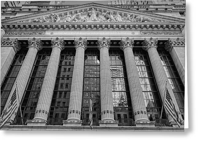 Enterprise Photographs Greeting Cards - Wall Street New York Stock Exchange NYSE BW Greeting Card by Susan Candelario
