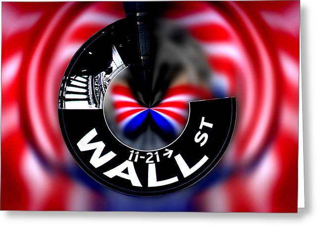 Red White And Blue Digital Greeting Cards - Wall Street Sign Circagraph Greeting Card by Az Jackson