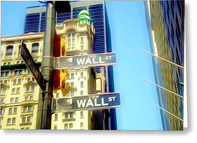 Financial Failure Greeting Cards - Wall street signs in New York city close-up view Greeting Card by Lanjee Chee