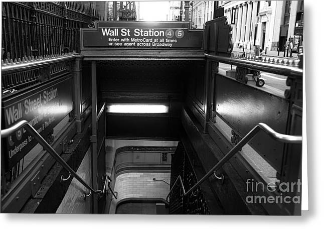 Broadway St Greeting Cards - Wall Street Station Entry mono Greeting Card by John Rizzuto