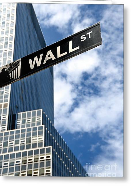 Invest Greeting Cards - Wall Street Street Sign New York City Greeting Card by Amy Cicconi