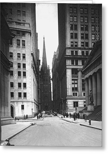 Wall Street To Trinity Church Greeting Card by Underwood Archives