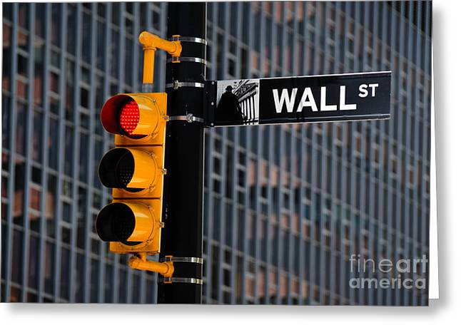 Stop Greeting Cards - Wall Street Traffic Light New York Greeting Card by Amy Cicconi