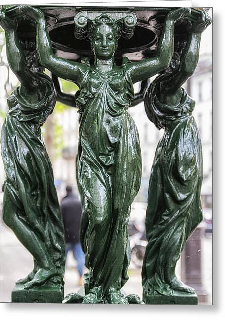 Caryatids Greeting Cards - Wallace Fountain in Montmartre  Greeting Card by Nomad Art And  Design