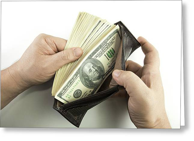 Wallet Containing 100 Us Dollar Banknotes Greeting Card by Ktsdesign