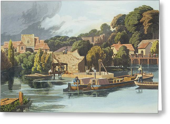 Barge Greeting Cards - Wallingford Castle In 1810 During Greeting Card by William Havell