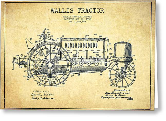 Tractors Greeting Cards - Wallis Tractor Patent drawing from 1916 - Vintage Greeting Card by Aged Pixel