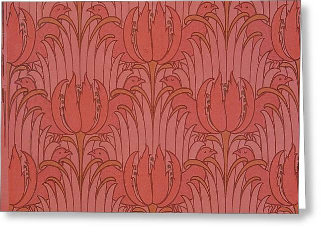 Textiles Tapestries - Textiles Greeting Cards - Wallpaper Design Greeting Card by Victorian Voysey
