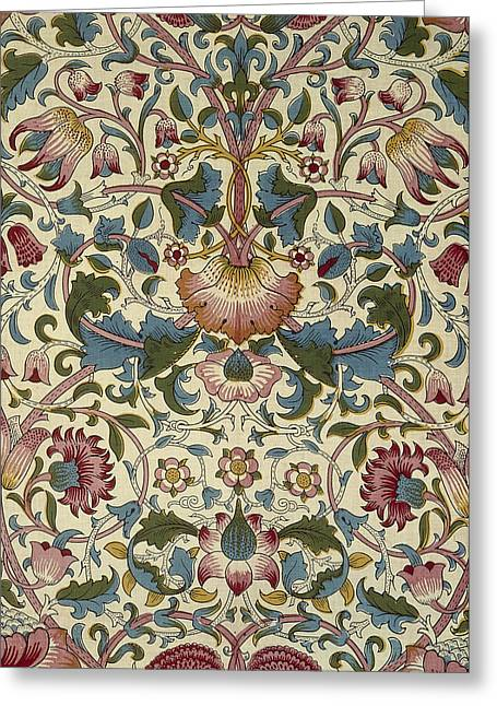 Wallpaper Tapestries Textiles Greeting Cards - Wallpaper Design Greeting Card by William Morris