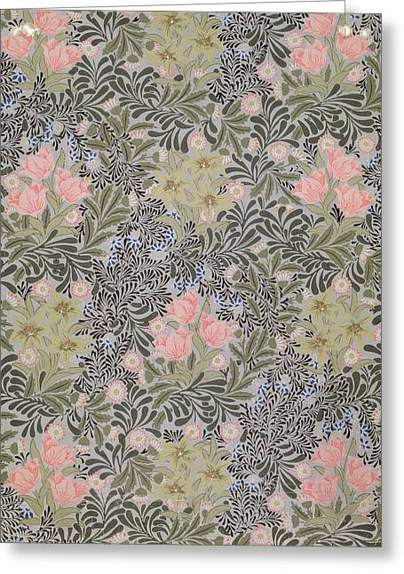 Foliage Tapestries - Textiles Greeting Cards - Wallpaper design with Tulips Daisies and Honeysuckle  Greeting Card by William Morris