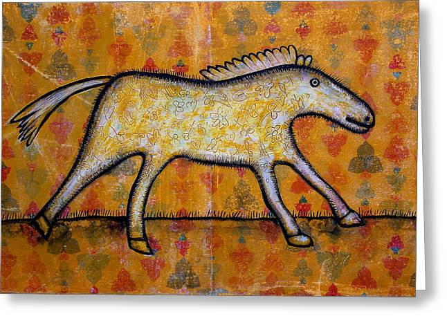 Office Space Mixed Media Greeting Cards - Wallpaper Horse Greeting Card by Ans De Bie
