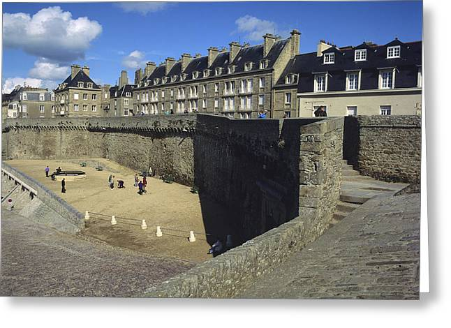 Town Walls Greeting Cards - Walls of Saint Malo. Bretagne. Brittany. France. Europe Greeting Card by Bernard Jaubert