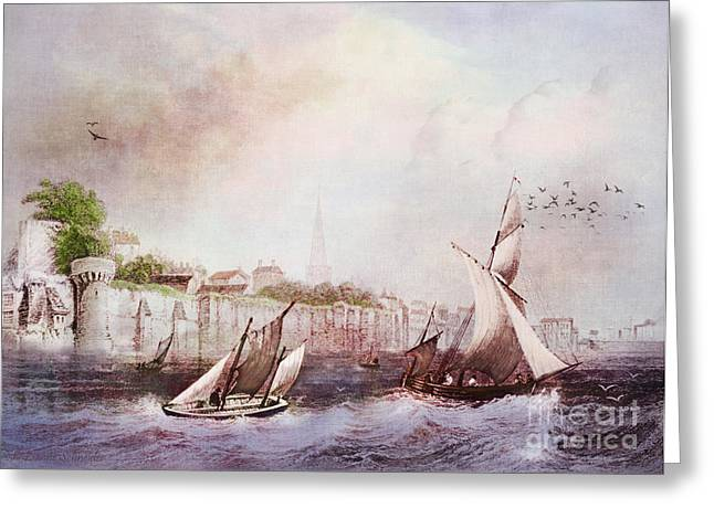 Historic Ship Greeting Cards - Walls of Southampton Greeting Card by Lianne Schneider