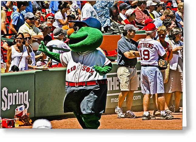 Boston Red Sox Greeting Cards - Wally the Green Monster Greeting Card by Dennis Coates