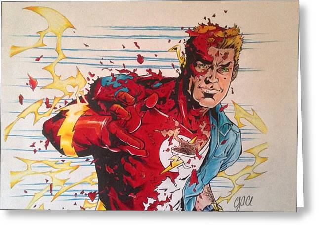 Cole Drawings Greeting Cards - Wally West as The Flash Greeting Card by Cody Cole