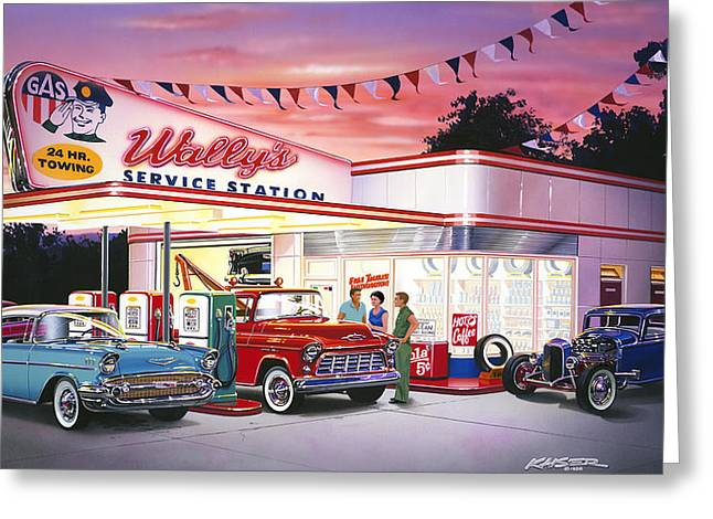 Petrol Station Greeting Cards - Wallys Greeting Card by Bruce Kaiser