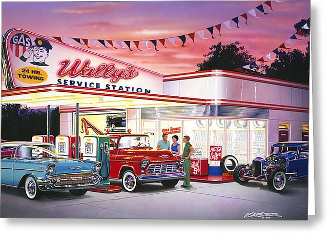 1932 Ford Greeting Cards - Wallys Service Station Greeting Card by Bruce Kaiser