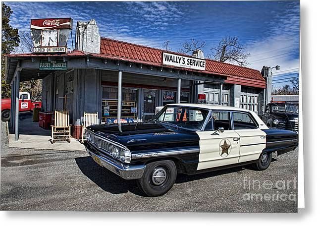 Mt. Airy Greeting Cards - Wallys Service Station Greeting Card by David Arment