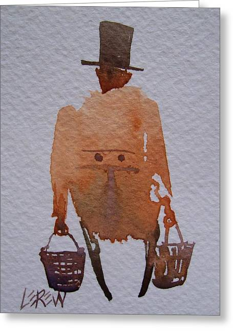 Senior Citizen Drawings Greeting Cards - Walnut Vendor Greeting Card by Larry Lerew