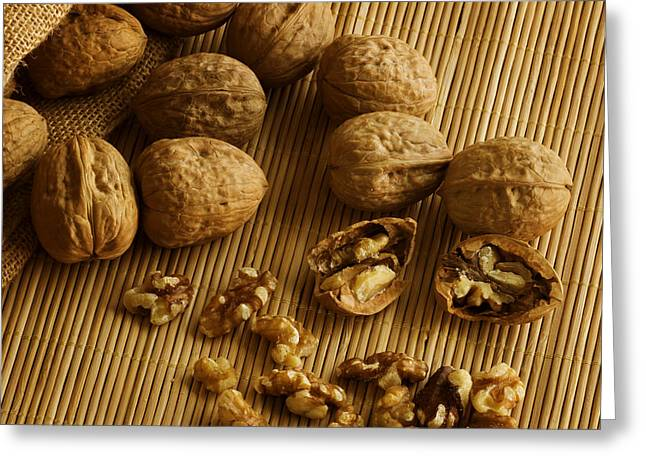 Shell Texture Greeting Cards - Walnuts on Bamboo Greeting Card by Mark McKinney